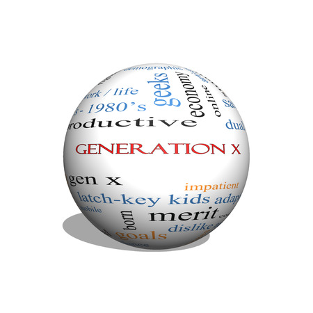generation x: Generation X 3D sphere Word Cloud Concept with great terms such as now, dual income, gen x and more.
