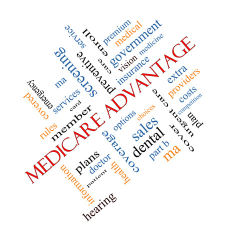 enroll: Medicare Advantage Word Cloud Concept angled with great terms such as premium, enroll, plan and more. Stock Photo