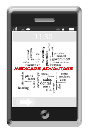 medicare: Medicare Advantage Word Cloud Concept on a Touchscreen Phone with great terms such as enroll, choices, options and more.