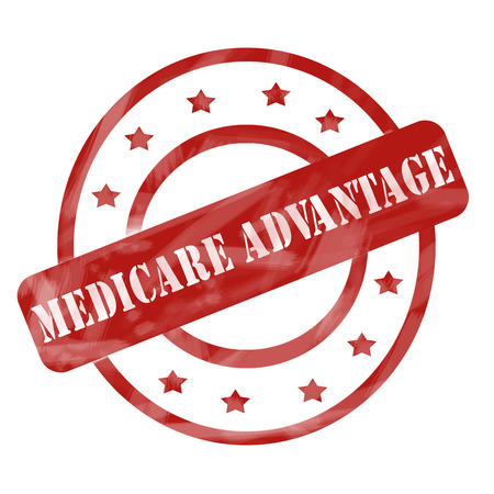 A red ink weathered roughed up circles and stars stamp design with the words MEDICARE ADVANTAGE