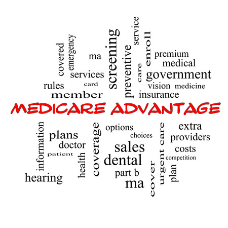 medical decisions: Medicare Advantage Word Cloud Concept in red caps with great terms such as premium, enroll, plan and more. Stock Photo