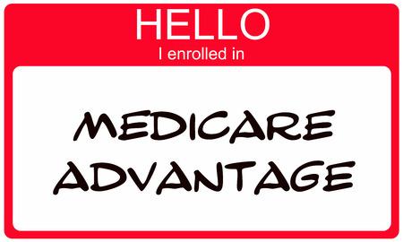 Hallo ik ingeschreven in Medicare Advantage rode naamplaatje sticker Stockfoto