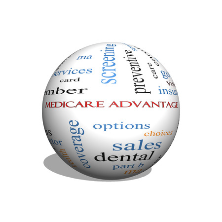 Medicare Advantage 3D sphere Word Cloud Concept with great terms such as premium, enroll, plan and more.