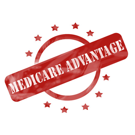 A red ink weathered roughed up circle and stars stamp design with the words MEDICARE ADVANTAGE