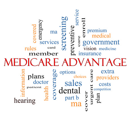 medicare: Medicare Advantage Word Cloud Concept with great terms such as premium, enroll, plan and more.