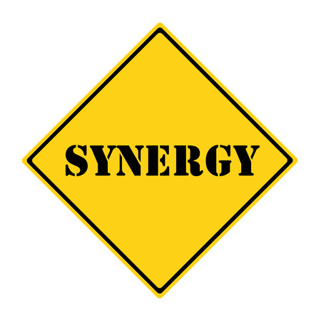 diamond shaped: A yellow and black diamond shaped road sign with the word SYNERGY making a great concept. Stock Photo