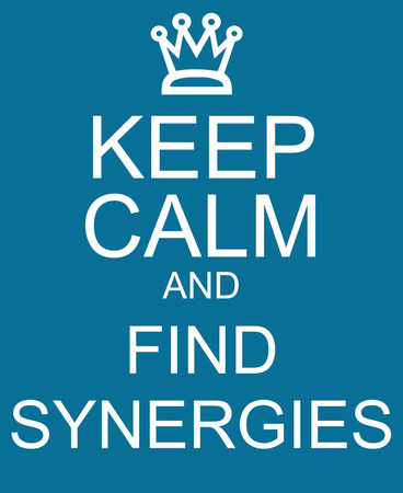 synergies: Keep Calm and Find Synergies Blue Sign making a great concept