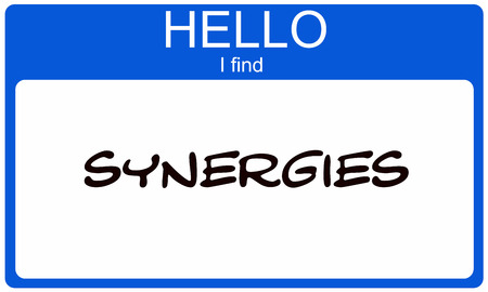 synergies: Hello I Find Synergies Blue Name Tag making a great concept Stock Photo