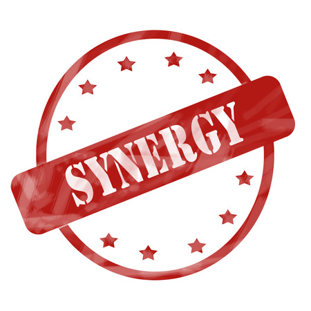 synergies: A red ink weathered roughed up circle and stars stamp design with the word SYNERGY on it making a great concept.