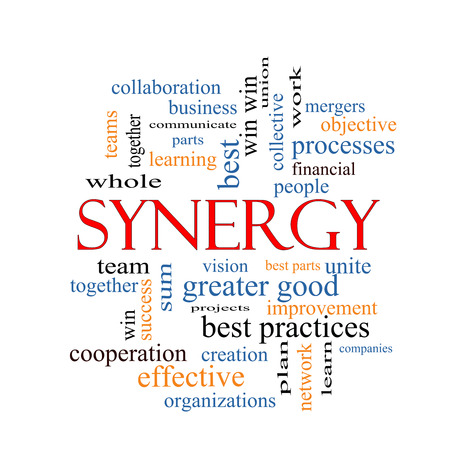 communicate concept: Synergy Word Cloud Concept with great terms such as team, win, together and more.