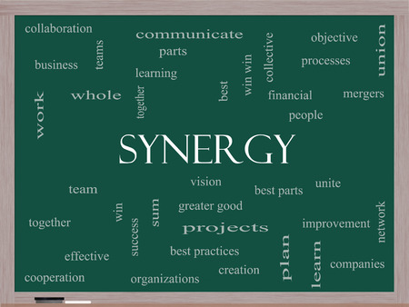 communicate concept: Synergy Word Cloud Concept on a Blackboard with great terms such as team, win, together and more. Stock Photo
