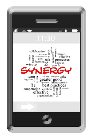 best practices: Synergy Word Cloud Concept on a Touchscreen Phone with great terms such as best practices, win, merger and more.