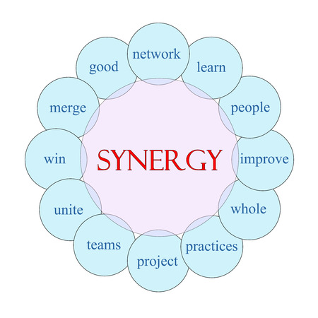 Synergy concept circular diagram in pink and blue with great terms such as learn, people, win and more.