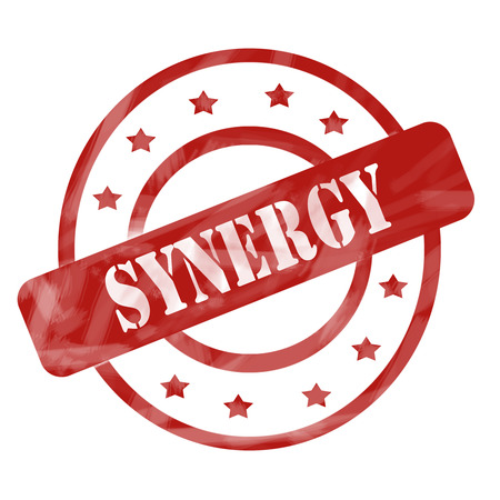 synergies: A red ink weathered roughed up circles and stars stamp design with the word SYNERGY on it making a great concept.