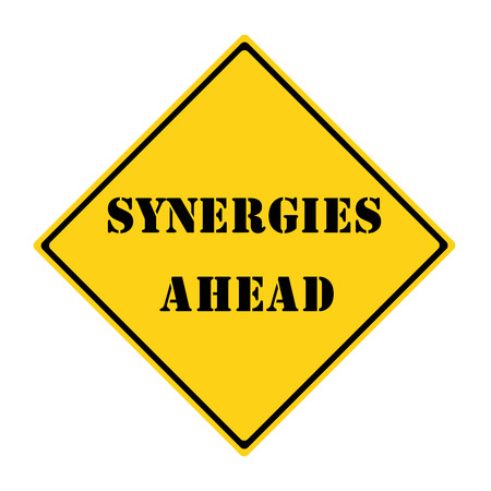 diamond shaped: A yellow and black diamond shaped road sign with the word SYNERGY AHEAD making a great concept.