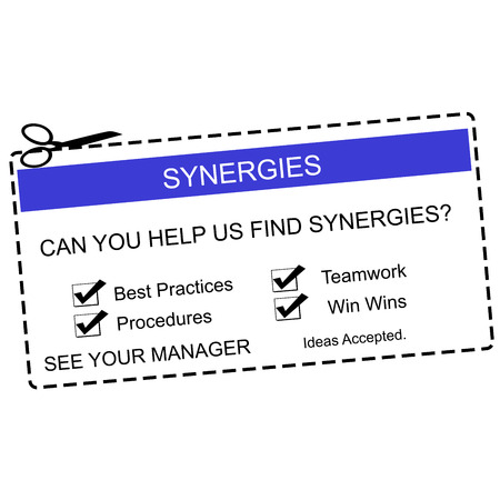 Synergies Blue and White Coupon making a great concept for a business.