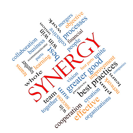 communicate concept: Synergy Word Cloud Concept angled with great terms such as team, win, together and more.