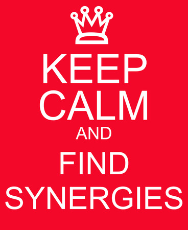synergies: Keep Calm and Find Synergies Red Sign making a great concept Stock Photo