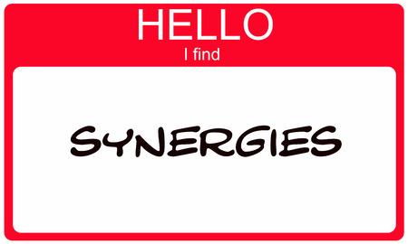 synergies: Hello I Find Synergies Red Name Tag making a great concept