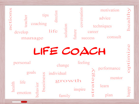 Life Coach Word Cloud Concept on a Whiteboard with great terms such as actions, goals, change and more.