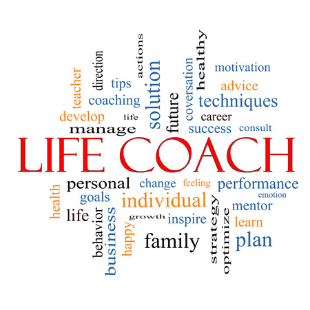 Life Coach Word Cloud Concept with great terms such as actions, goals, change and more. Stockfoto