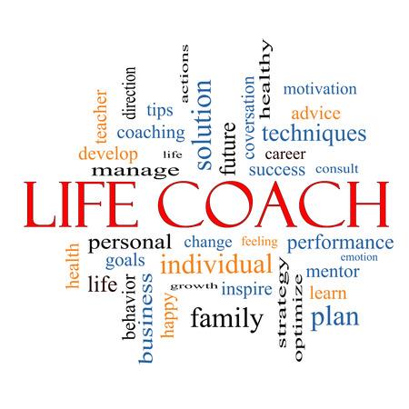 wort: Life-Coaching Word Wolke Konzept mit großen Begriffen wie Maßnahmen, Ziele, ändern und vieles mehr.