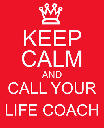 Keep Calm and Call Your Life Coach Red Sign making a great concept Banco de Imagens