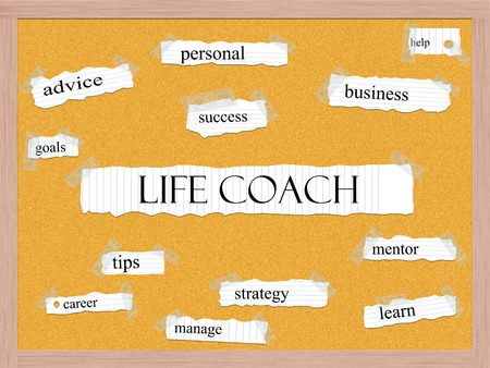 pegboard: Life Coach Corkboard Word Concept with great terms such as help, goals, success and more.