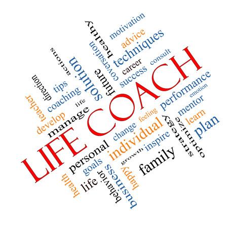 生命コーチの単語の雲の概念操作、目標、変更などの大きい言葉に角度が付いてください。 写真素材