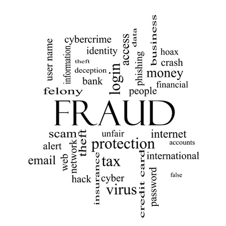 web scam: Fraud Word Cloud Concept in black and white with great terms such as alert, identity, theft and more. Stock Photo