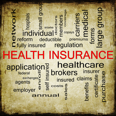 health reform: Health Insurance Word Cloud Grunge Concept with great terms such as healthcare, reform, enroll, claims and more.
