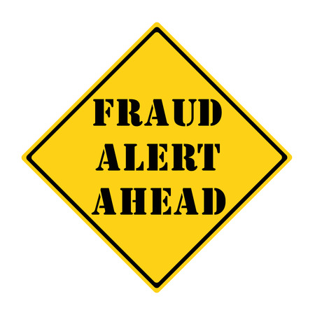diamond shaped: A yellow and black diamond shaped road sign with the words FRAUD ALERT AHEAD making a great concept.