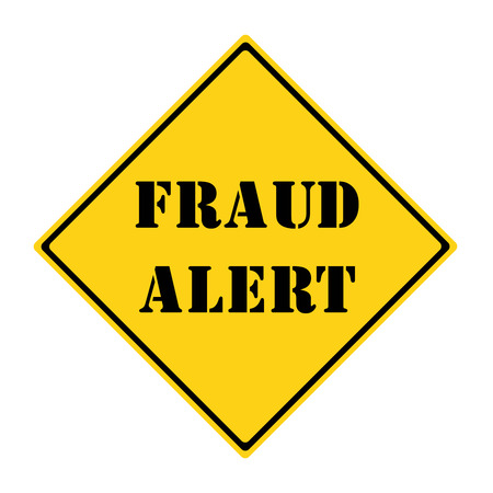 alert: A yellow and black diamond shaped road sign with the words FRAUD ALERT making a great concept.