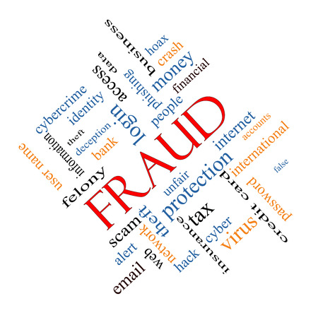 identity theft: Fraud Word Cloud Concept angled with great terms such as alert, identity, theft and more.