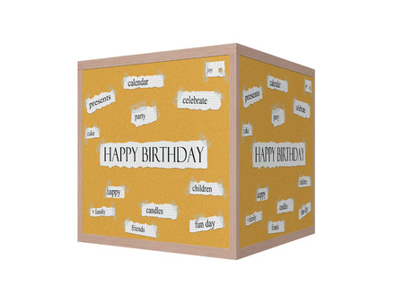 Happy Birthday 3D Corkboard Word Concept with great terms such as celebrate, joy, party and more.