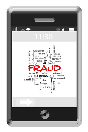 web scam: Fraud Word Cloud Concept on a Touchscreen Phone with great terms such as alert, internet, scam and more.