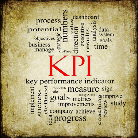 metrics: KPI Word Cloud Grunge Concept with great terms such as key, performance, indicators and more. Stock Photo