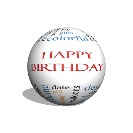 birthday presents: Happy Birthday 3D sphere Word Cloud Concept with great terms such as presents, cake, ice cream, gifts and more.
