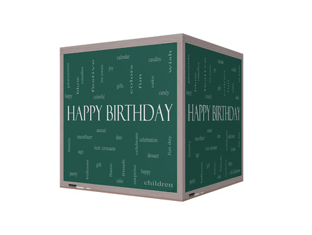 Happy Birthday 3D Word Cloud Concept on a Blackboard with great terms such as presents, cake, ice cream, gifts and more.
