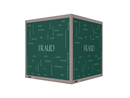 felony: Fraud Word Cloud Concept on a 3D Blackboard with great terms such as alert, identity, theft and more. Stock Photo