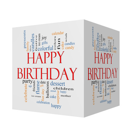 birthday presents: Happy Birthday 3D cube Word Cloud Concept with great terms such as presents, cake, ice cream, gifts and more.