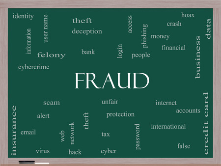 alert: Fraud Word Cloud Concept on a Blackboard with great terms such as alert, identity, theft and more.