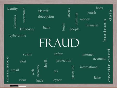 alerta: Fraude Palabra Nube Concepto en una pizarra con términos de la talla de alerta, la identidad, el robo y más.