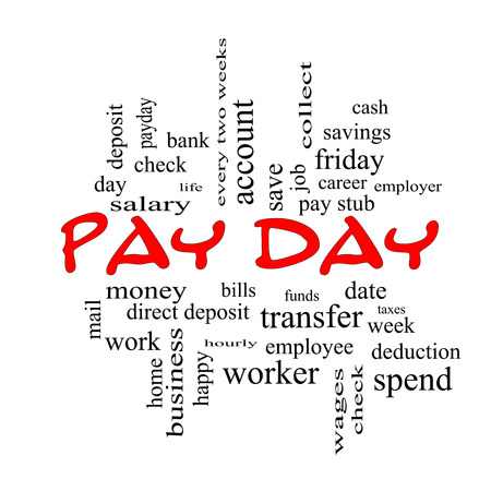 pay money: Pay Day Word Cloud Concept in red caps with great terms such as deposit, account, money, work and more.