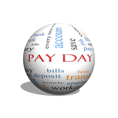 money sphere: Pay Day 3D sphere Word Cloud Concept with great terms such as deposit, account, money, work and more.