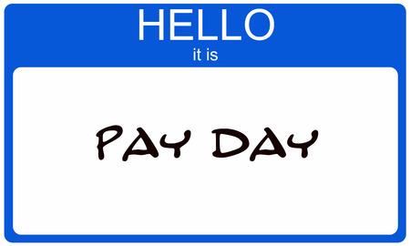 Pay Day Blue Name Tag sticker maken van een geweldig concept Stockfoto
