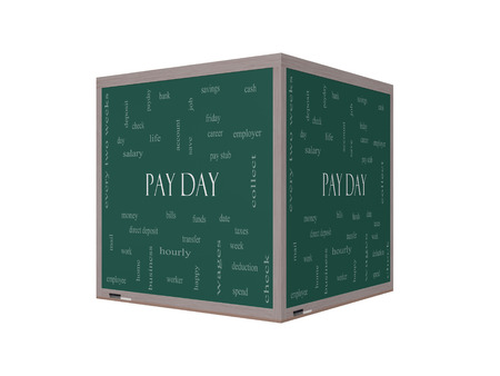 pay money: Pay Day Word Cloud Concept on a 3D Blackboard with great terms such as deposit, account, money, work and more.