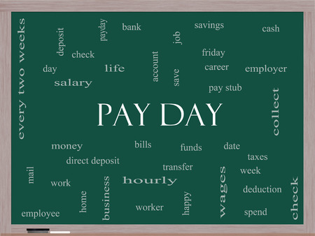 pay money: Pay Day Word Cloud Concept on a Blackboard with great terms such as deposit, account, money, work and more.