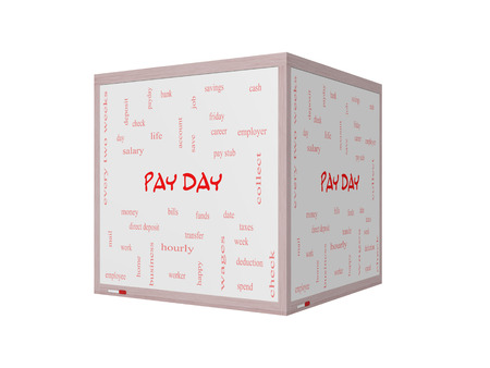 pay money: Pay Day Word Cloud Concept on a 3D Whiteboard with great terms such as deposit, account, money, work and more. Stock Photo