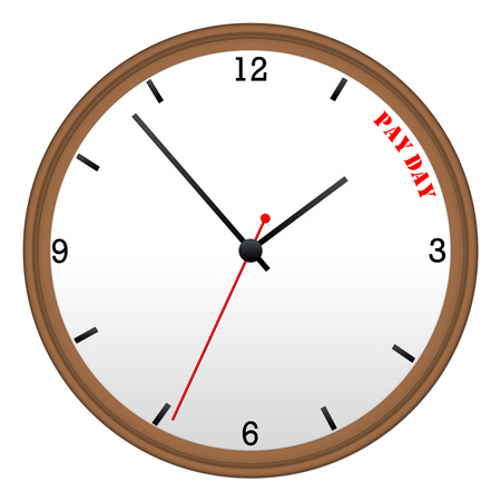 pay wall: Time for Pay Day brown Wall Clock making a great concept